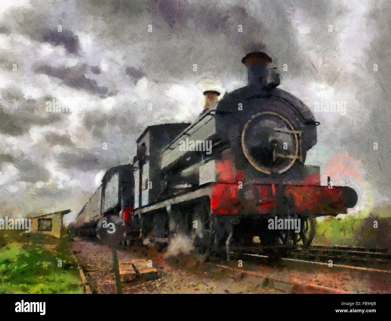 Digital painting Steam train passing - Stock Image