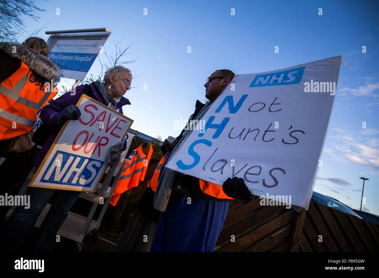 Junior doctors protest outside Trafford General Hospital , Manchester today (Tuesday 12/1/16). - Stock Image