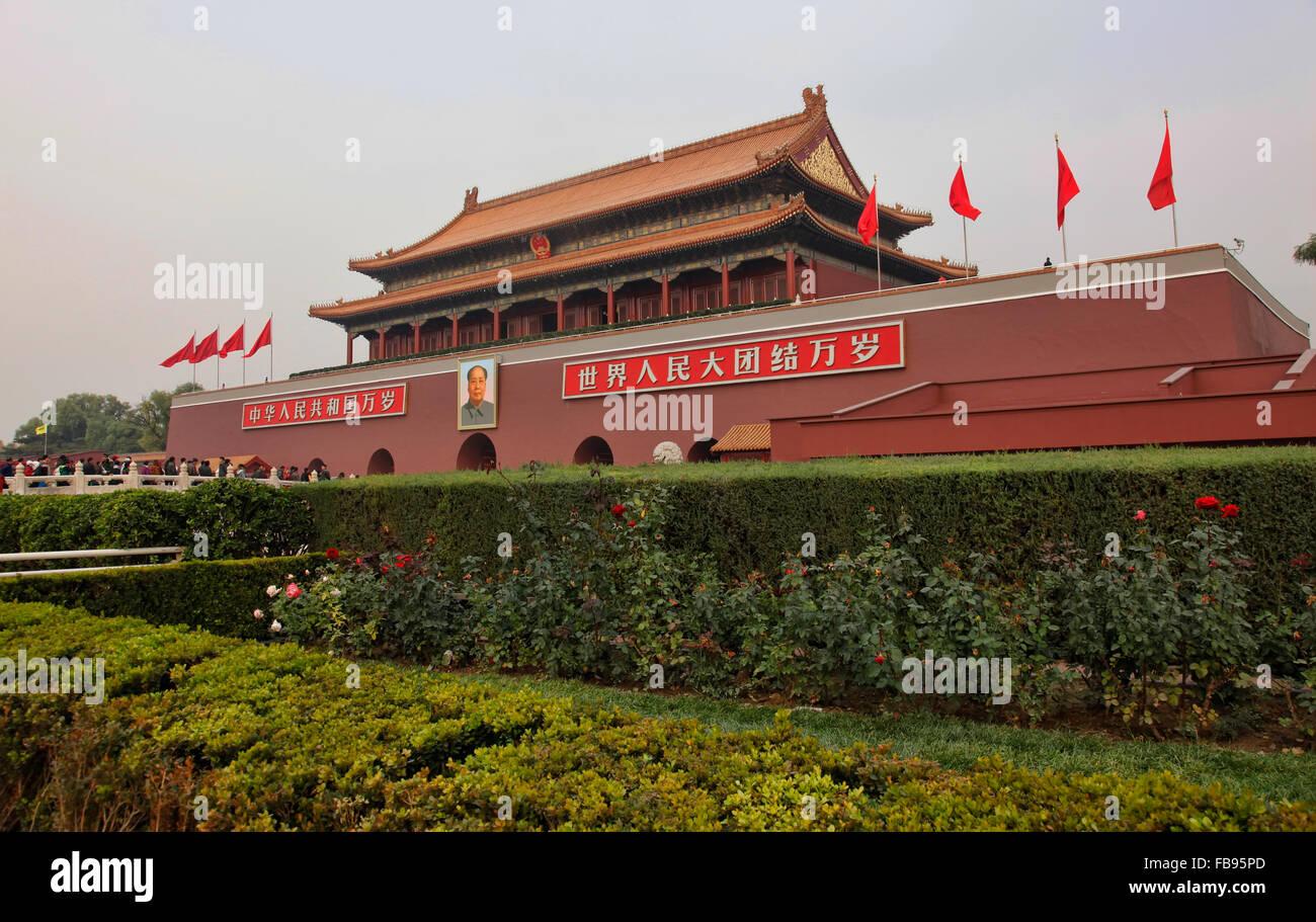 Tiananmen Gate, Tian'anmen Gate in Beijing;China,Gate of Heavenly Peace, Forbidden City, Beijing, China - Stock Image