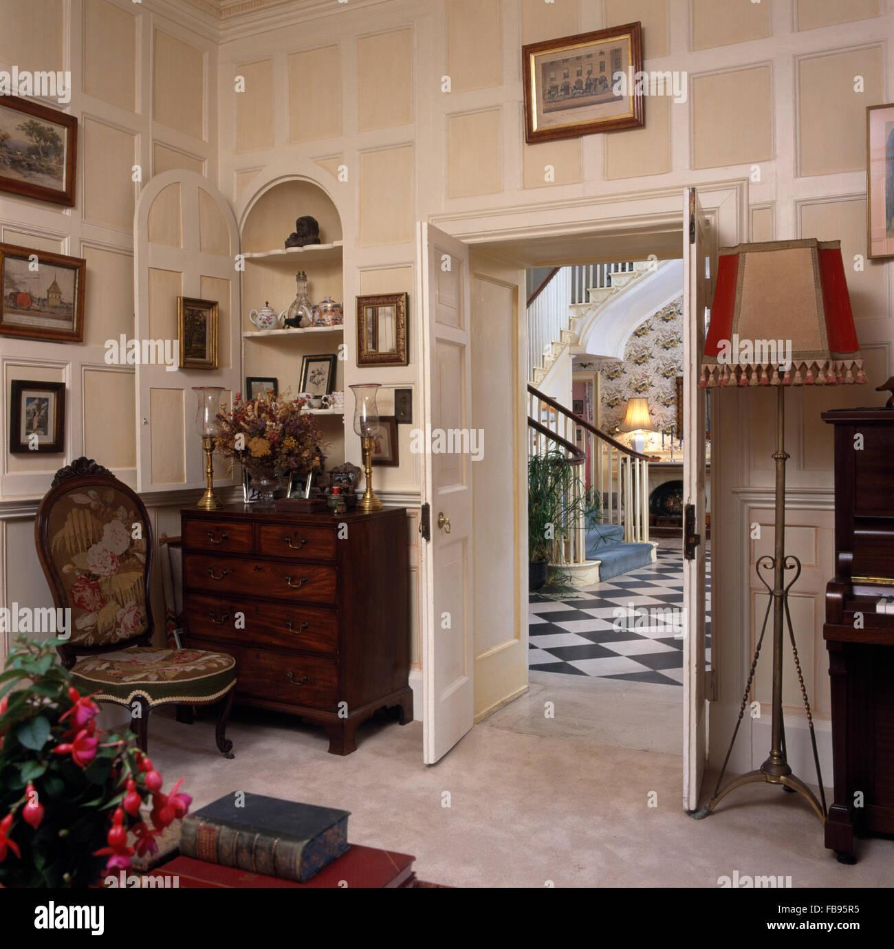 open double door drawing. Tapestry Chair And Antique Chest-of-drawers Beside Open Double Doors In Georgian Drawing Door D