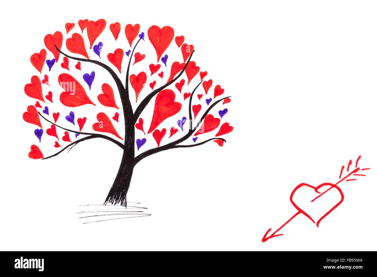 Handmade Valentine Card With Ink Drawing Of Tree With Hearts Stock