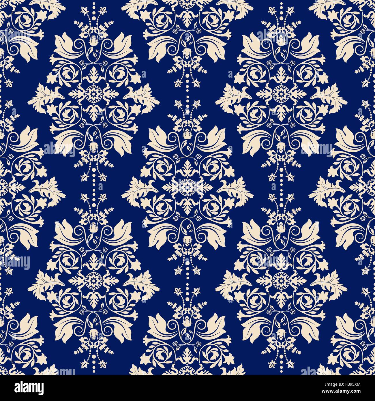 Vector classic wallpaper, damask background - Stock Image