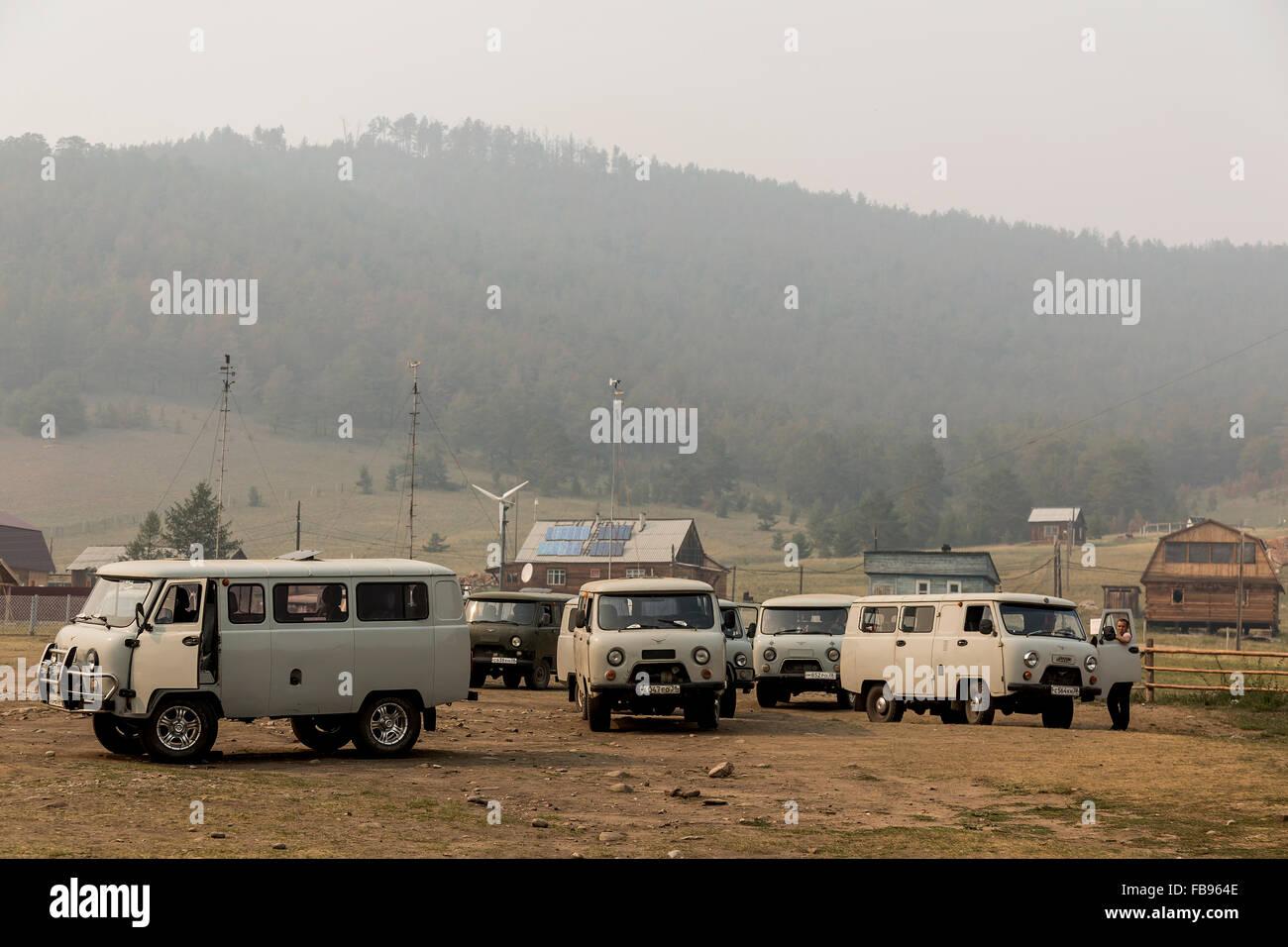 Russian Uaz vans in Olkhon Island in Lake Baikal, Russia - Stock Image