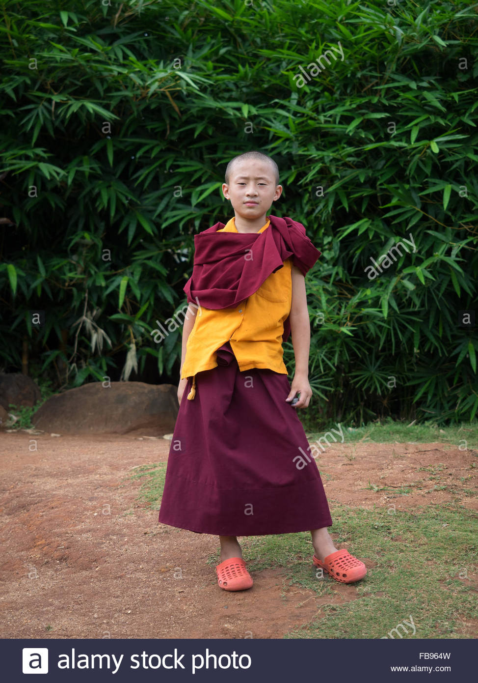 A young monk at the Namdroling Monastery, Bylakuppe - Stock Image