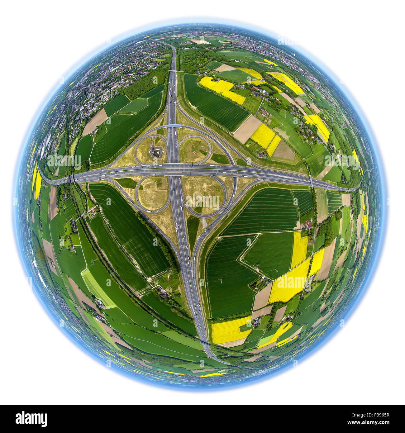 Aerial view, Kamen Cross with rapeseed fields, motorway intersection Kamen with A2, Fish-Eye View, fisheyelens, - Stock Image