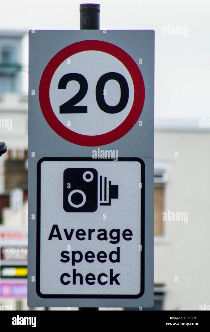 20mph Average Speed Check sign - Stock Image