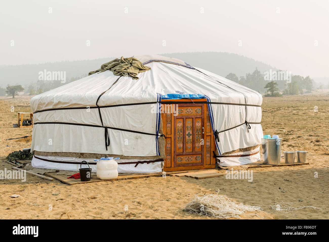 Yurt in a Camp in Olkhon Island - Lake Baikal, Russia - Stock Image