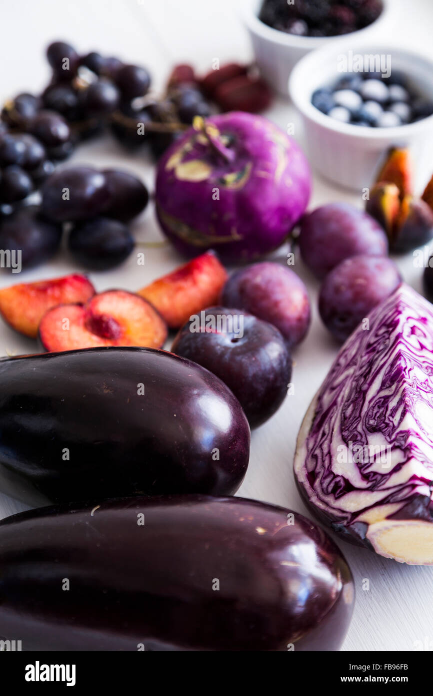 Purple vegetables and fruit - Stock Image