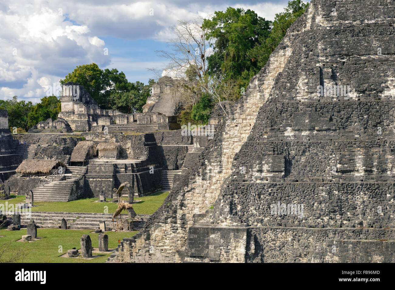 North Acropolis structures in Tikal National Park and archaeological site, Guatemala - Stock Image