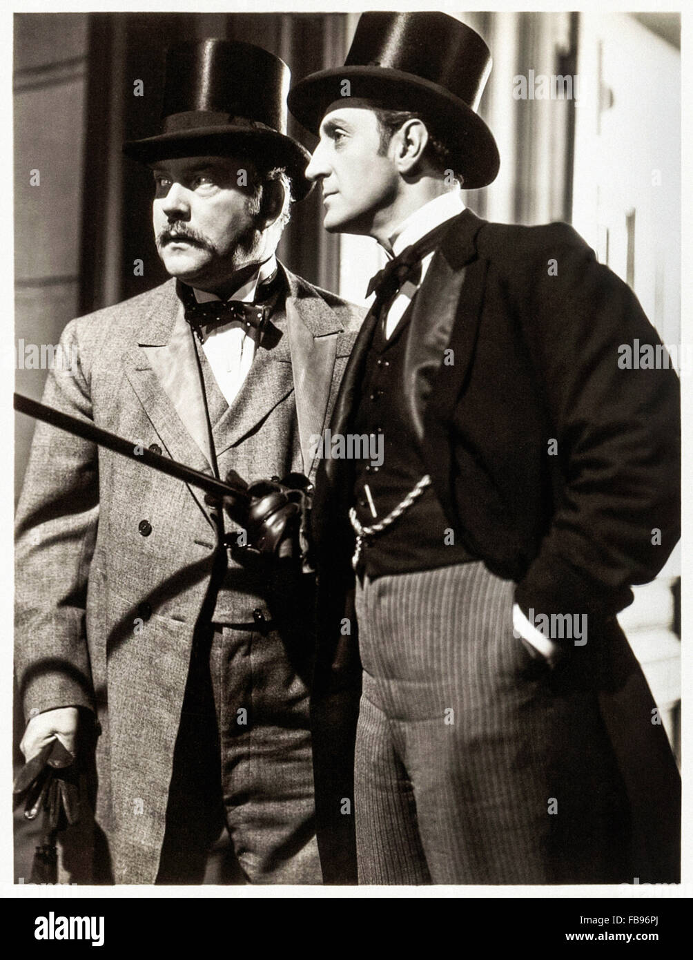 Publicity shot released to promote 'The Adventures of Sherlock Holmes' released in 1939' showing Basil - Stock Image
