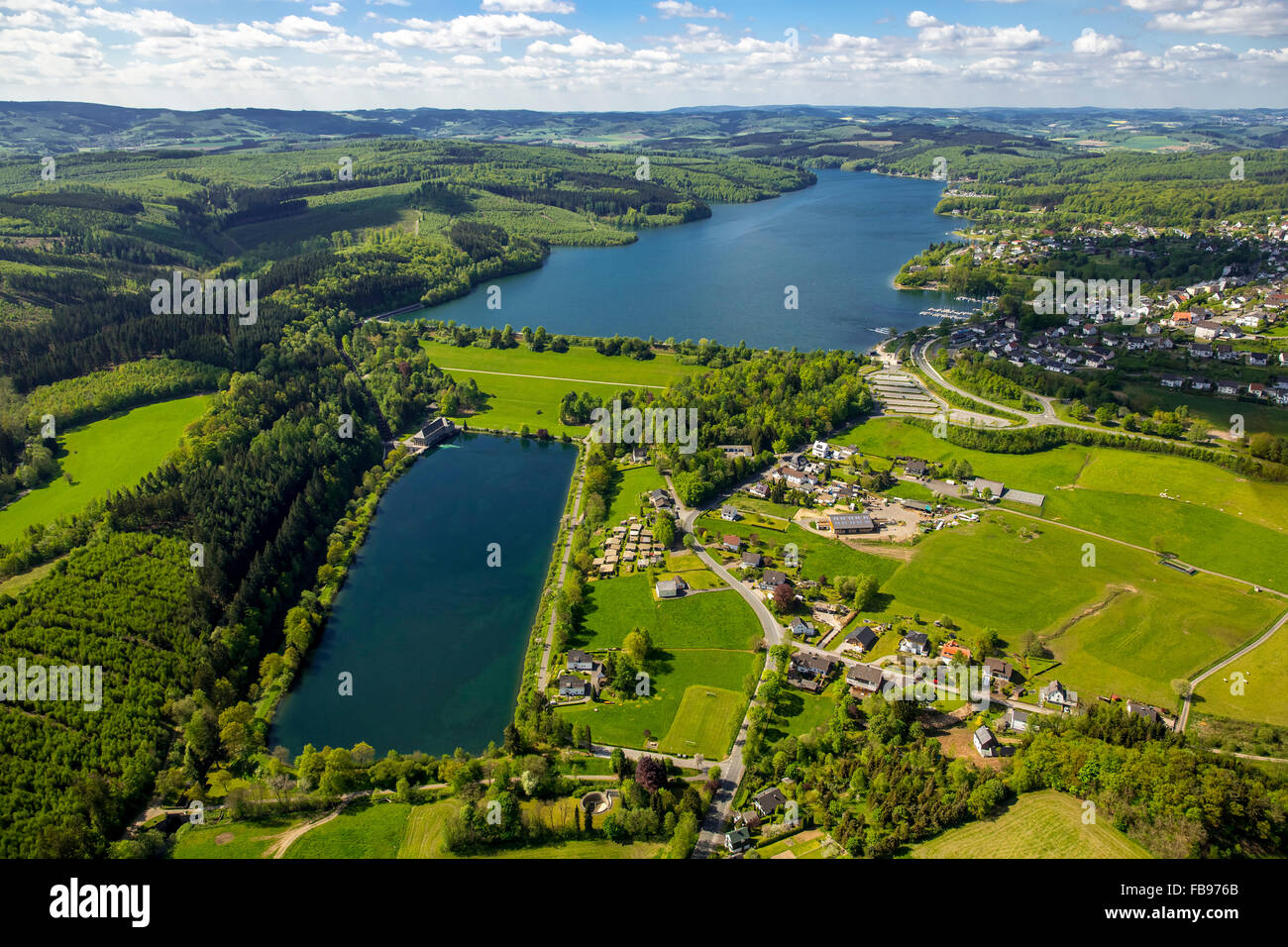 Aerial view, Sorpesee settled Weiher, Sundern, Sauerland, North Rhine-Westphalia, Germany, Europe, Aerial view, Stock Photo