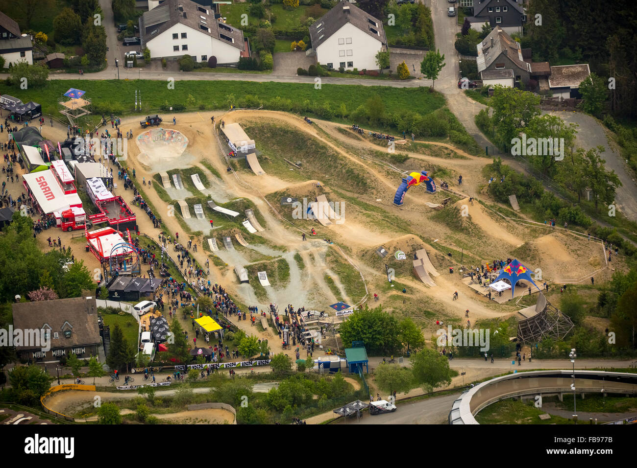 Aerial view, iXS Dirt Masters Mountainbike Freeride Festival at the Bike Park Winterberg, Winterberg, Sauerland - Stock Image