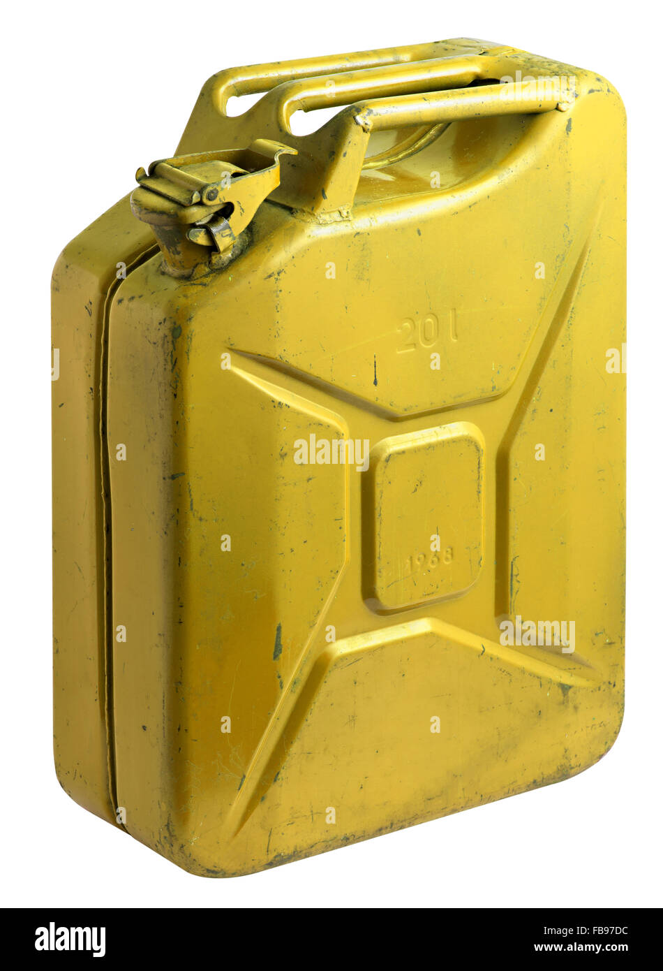 Dirty old used yellow fuel tank with the cap closed isolated at an angle on a white background - Stock Image