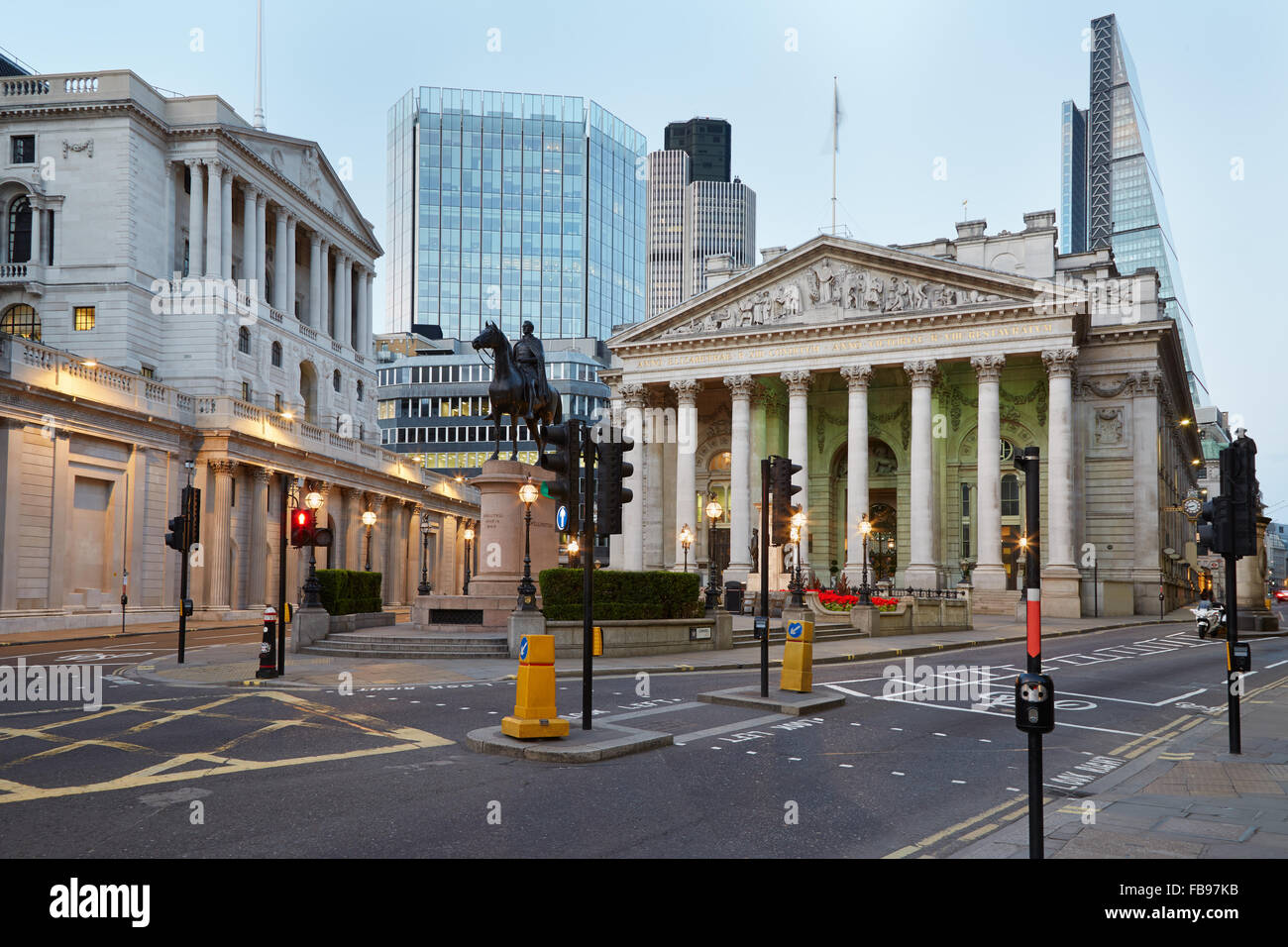 London Royal Exchange, luxury shopping center and Bank of England in the evening - Stock Image