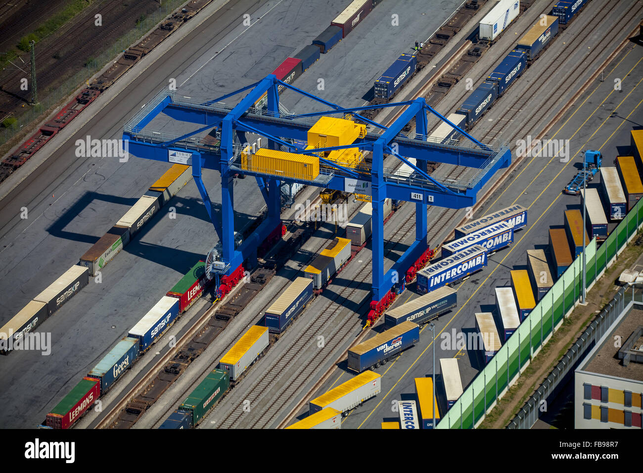 Aerial view, Logport with container terminals with a new a lifting crane Budberg Duisburg Friemersheim at the Rhine, - Stock Image
