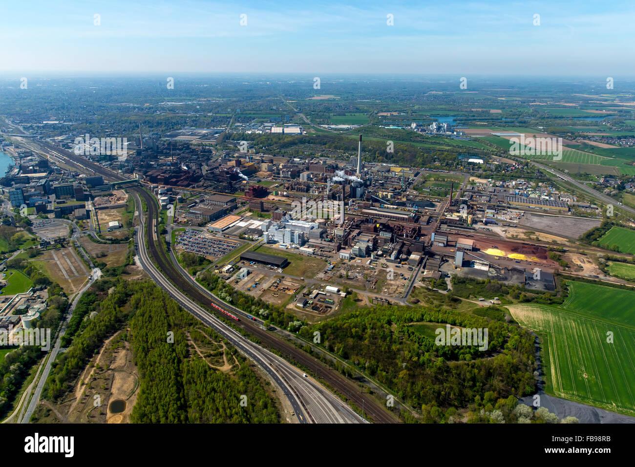 Aerial view, Krefeld Bayer Uerdingen, Duisburg, Ruhr area, Duisburg-North, North Rhine Westphalia, Germany, Europe, - Stock Image