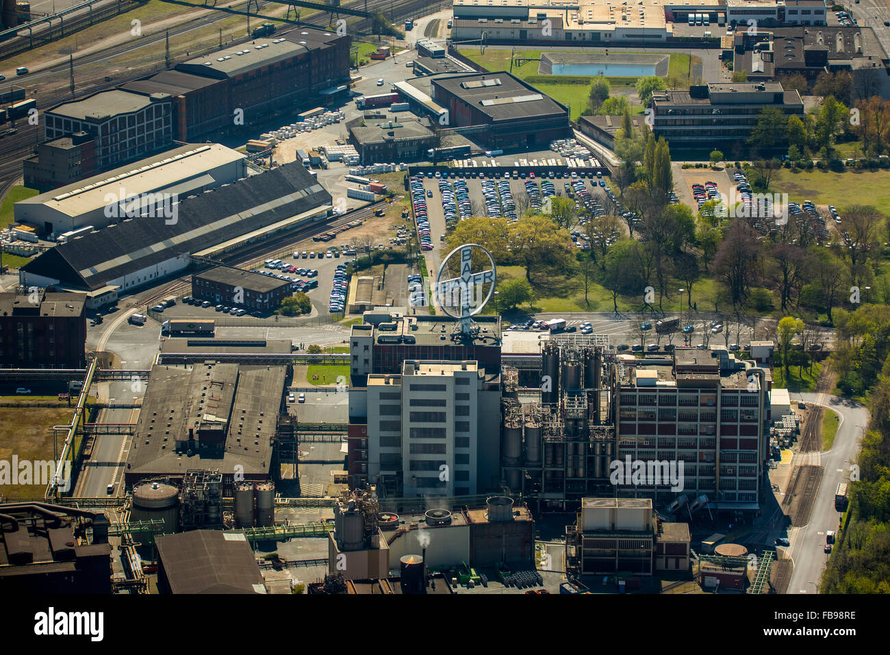 Aerial view, Krefeld Bayer Uerdingen, Duisburg, Ruhr area, Duisburg-North, North Rhine Westphalia, Germany, Europe, Stock Photo