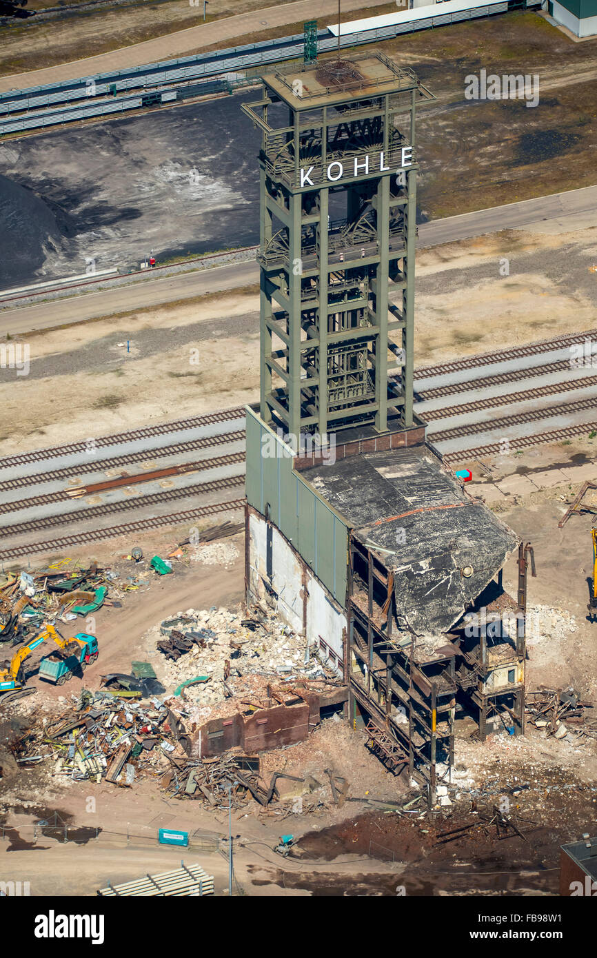 Aerial view, last relic of the era mine Walsum, demolition colliery tower Walsum, Ruhr coal, coal lettering, Duisburg, - Stock Image