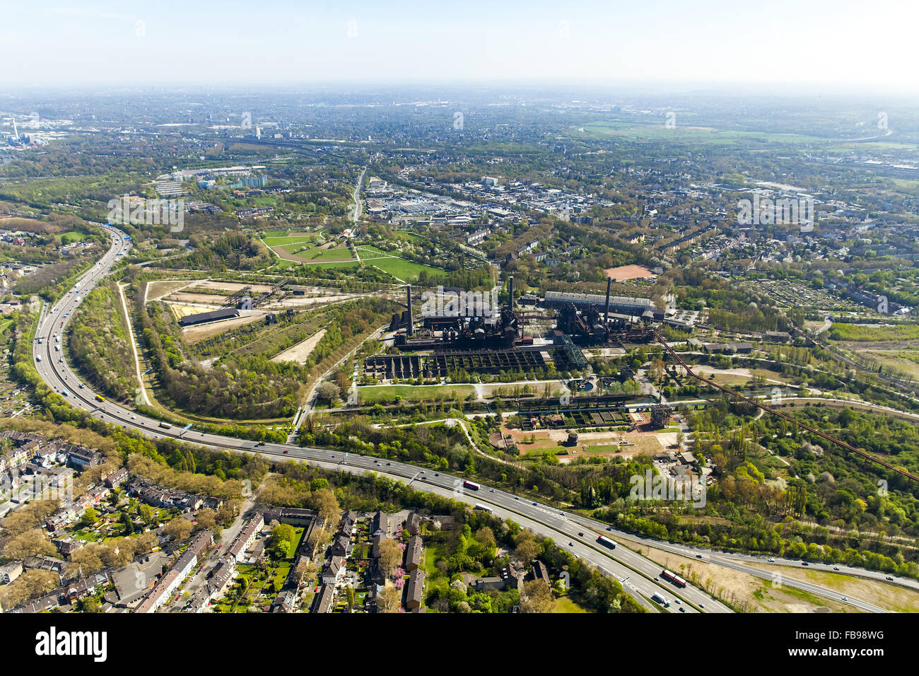 Aerial view, Landschaftspark Duisburg-Nord Emscherstraße, former steelworks, Duisburg, Ruhrgebiet, North Rhine - Stock Image