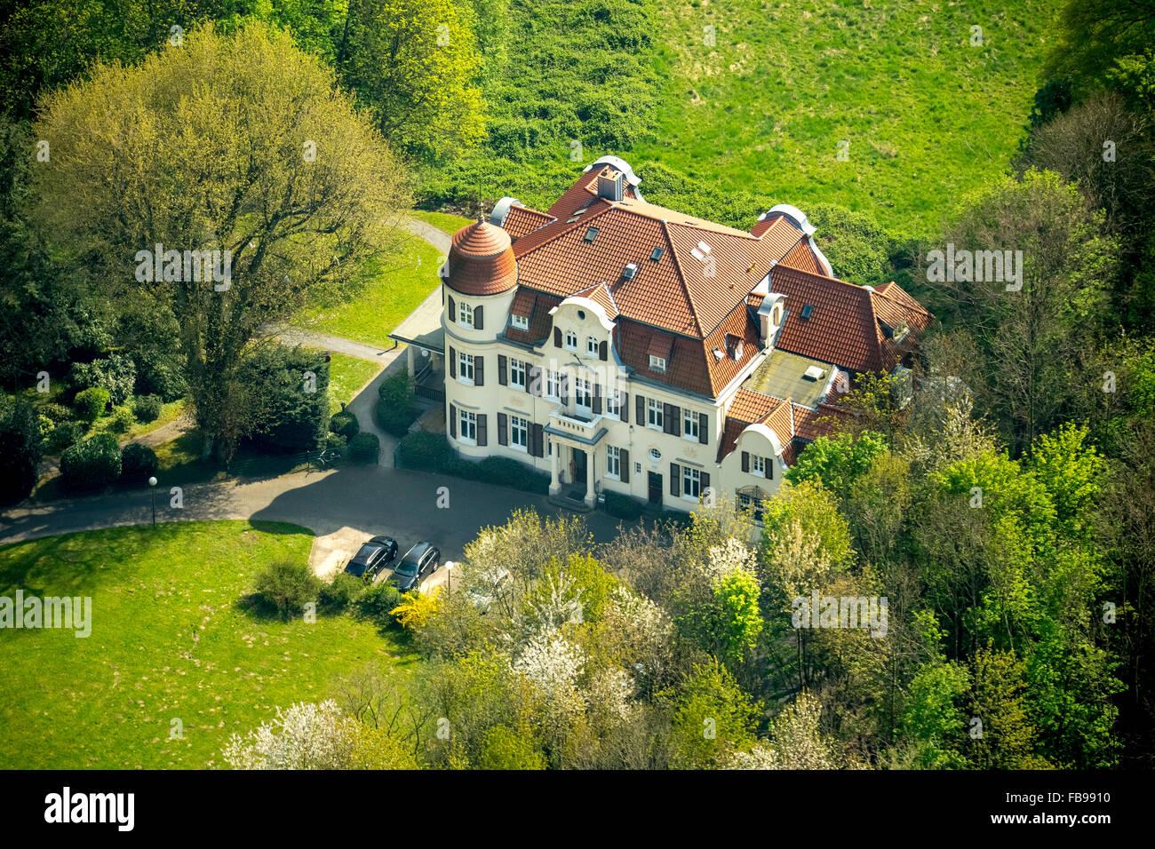 Aerial view, Villa Bayer Erkrath, Hochdahl, Erkrath, Niederrhein, North Rhine-Westphalia, Germany, Europe, Aerial - Stock Image