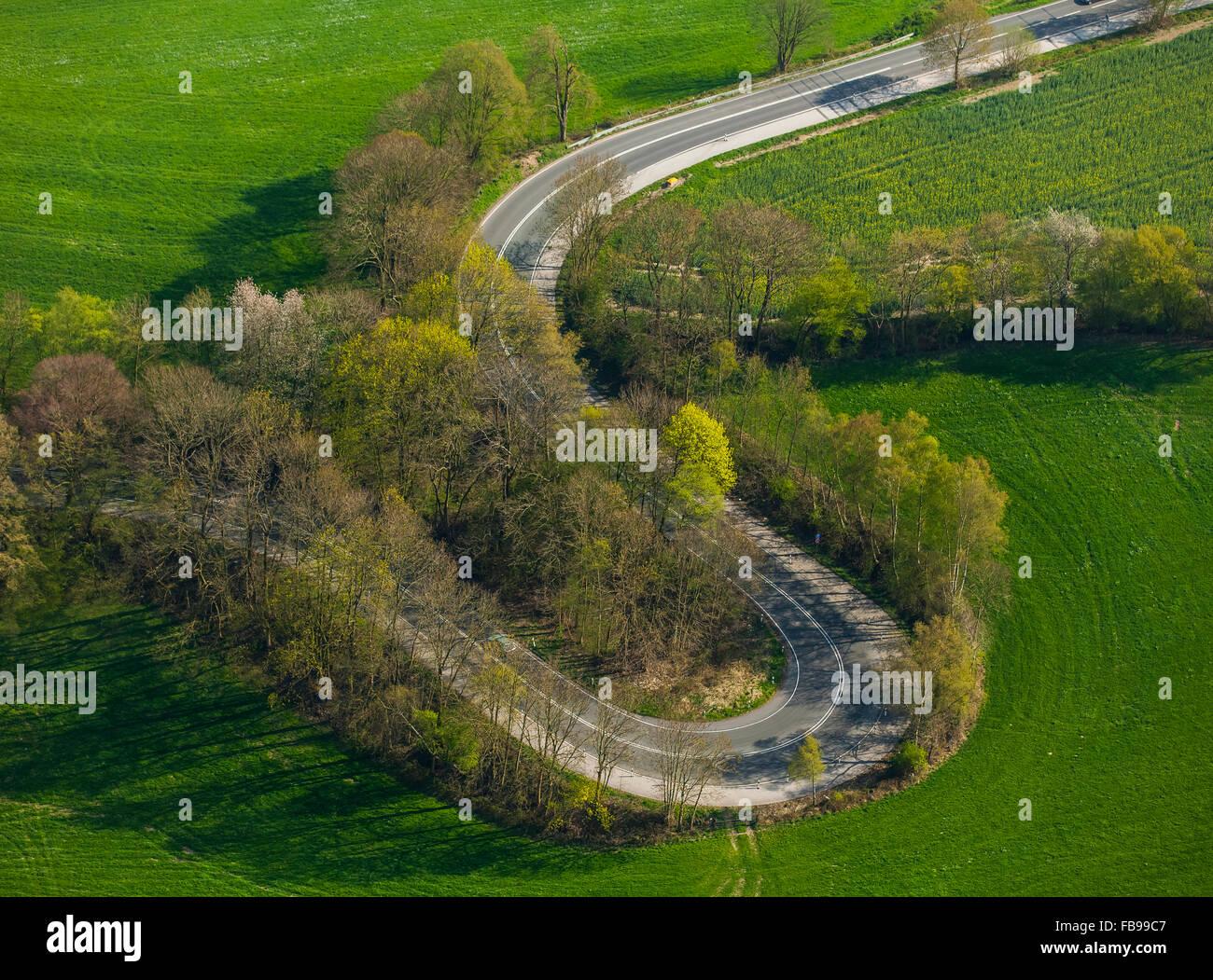 Aerial, S-curves Kuhlendahler road, hairpin bends, Velbert, Ruhr, Velbert-Neviges, North Rhine Westphalia, Germany, - Stock Image