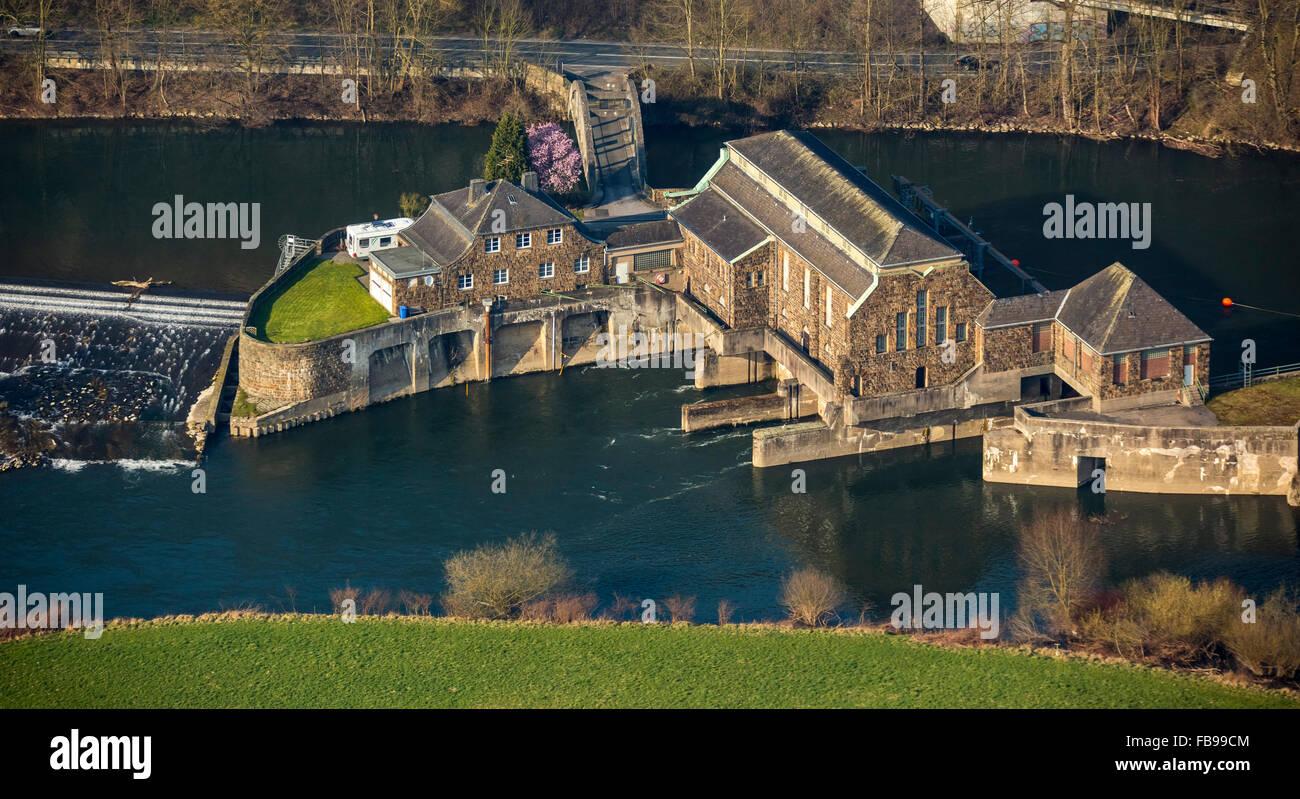 Aerial view, Laufwasserkraftwerk the Ruhr Valley, Ruhr, hydropower station Hohenstein, Witten, Ruhrgebiet, - Stock Image