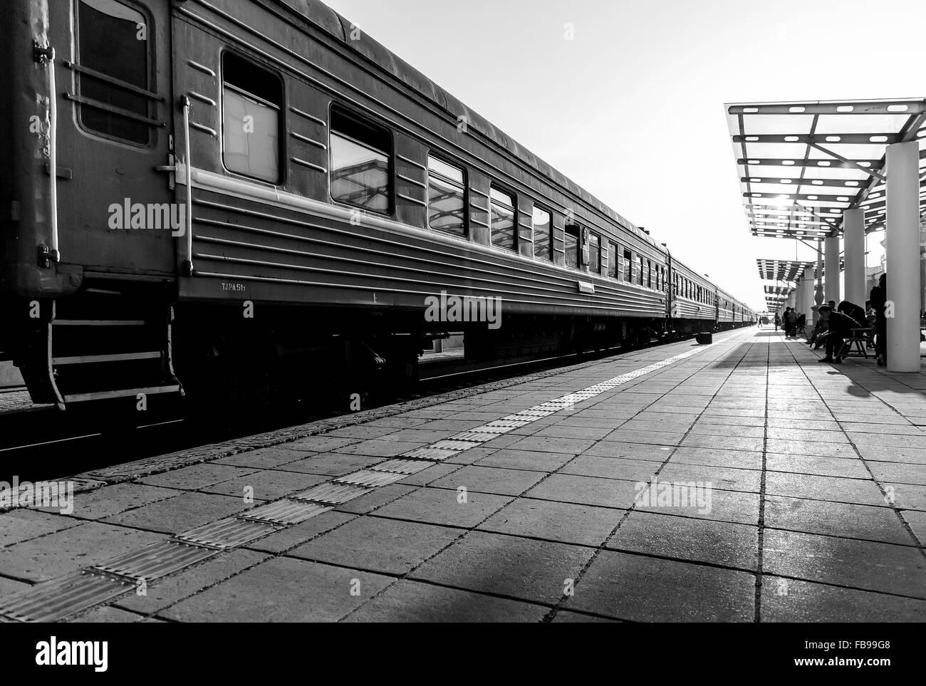 Old train at the main train station in Ulaanbaatar, Mongolia - Stock Image
