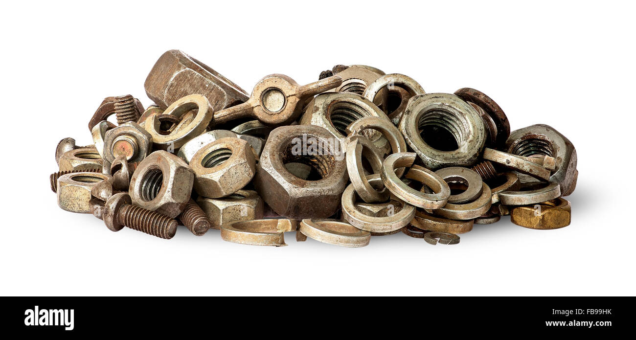 Pile of old fasteners isolated on white background - Stock Image