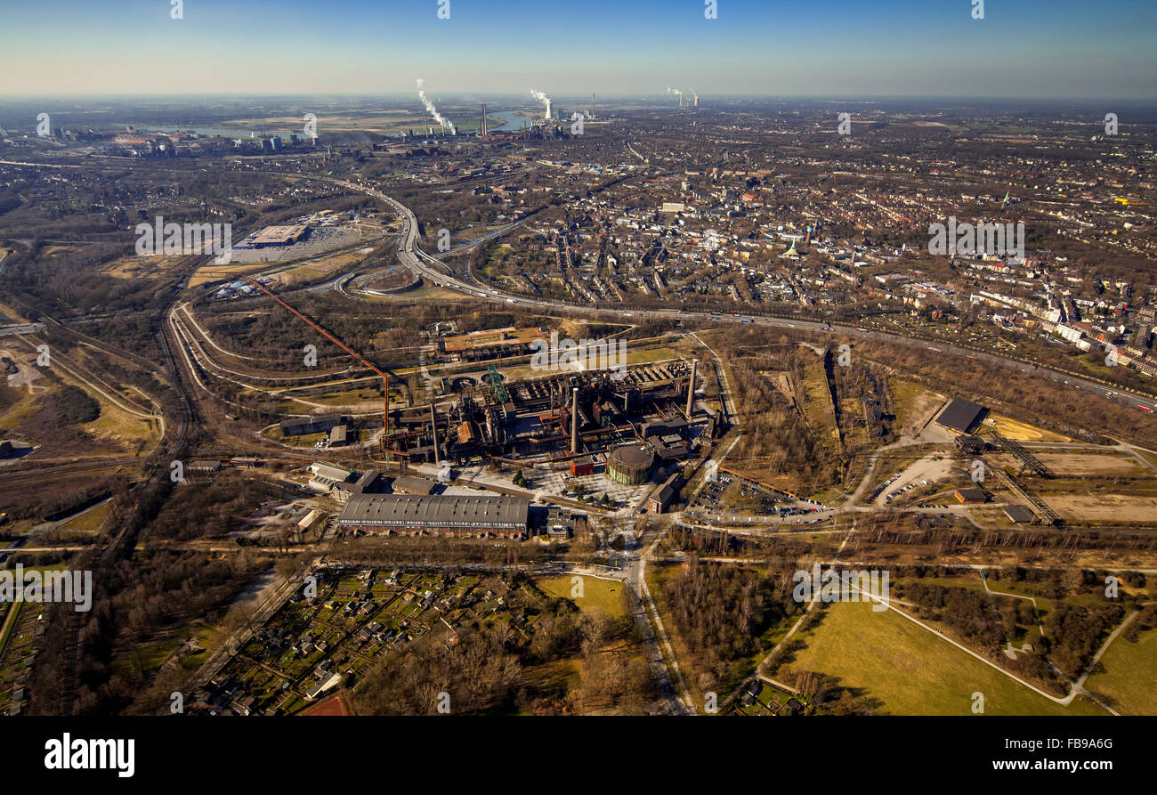 Aerial view, Landschaftspark Nord with green areas, Unesco heritage, former steelworks, Duisburg, Ruhr, North Rhine - Stock Image
