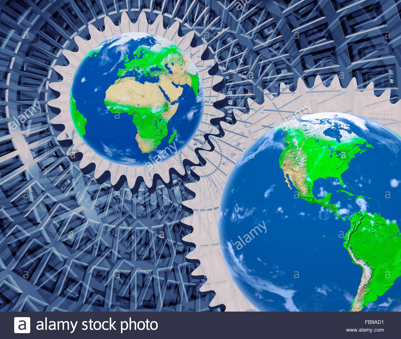 Concept of the earth being driven by the physics of the universe - Stock Image