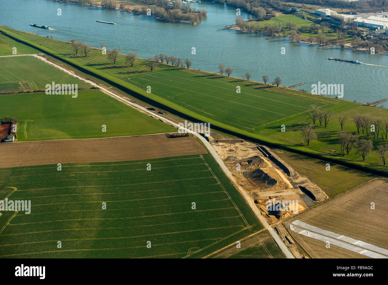 Aerial view, construction work on the dikes of Ehingen, Rhine dikes, flood protection, Duisburg, Ruhr area, North Stock Photo