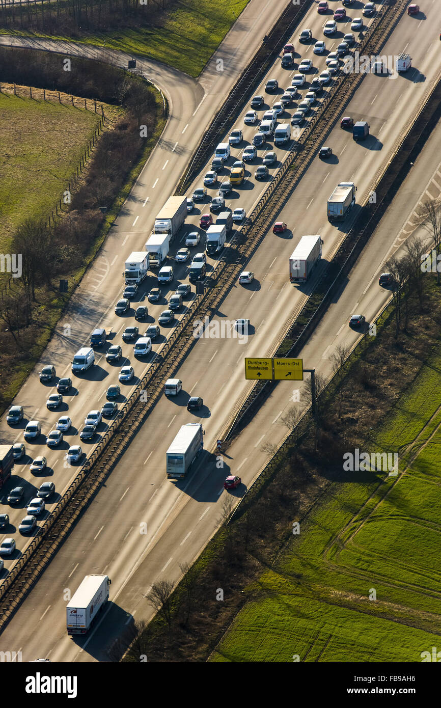 Aerial view, jam on the A40 bridge, before the Rhine bridge, closed to heavy traffic, Duisburg, Ruhr area, Stock Photo