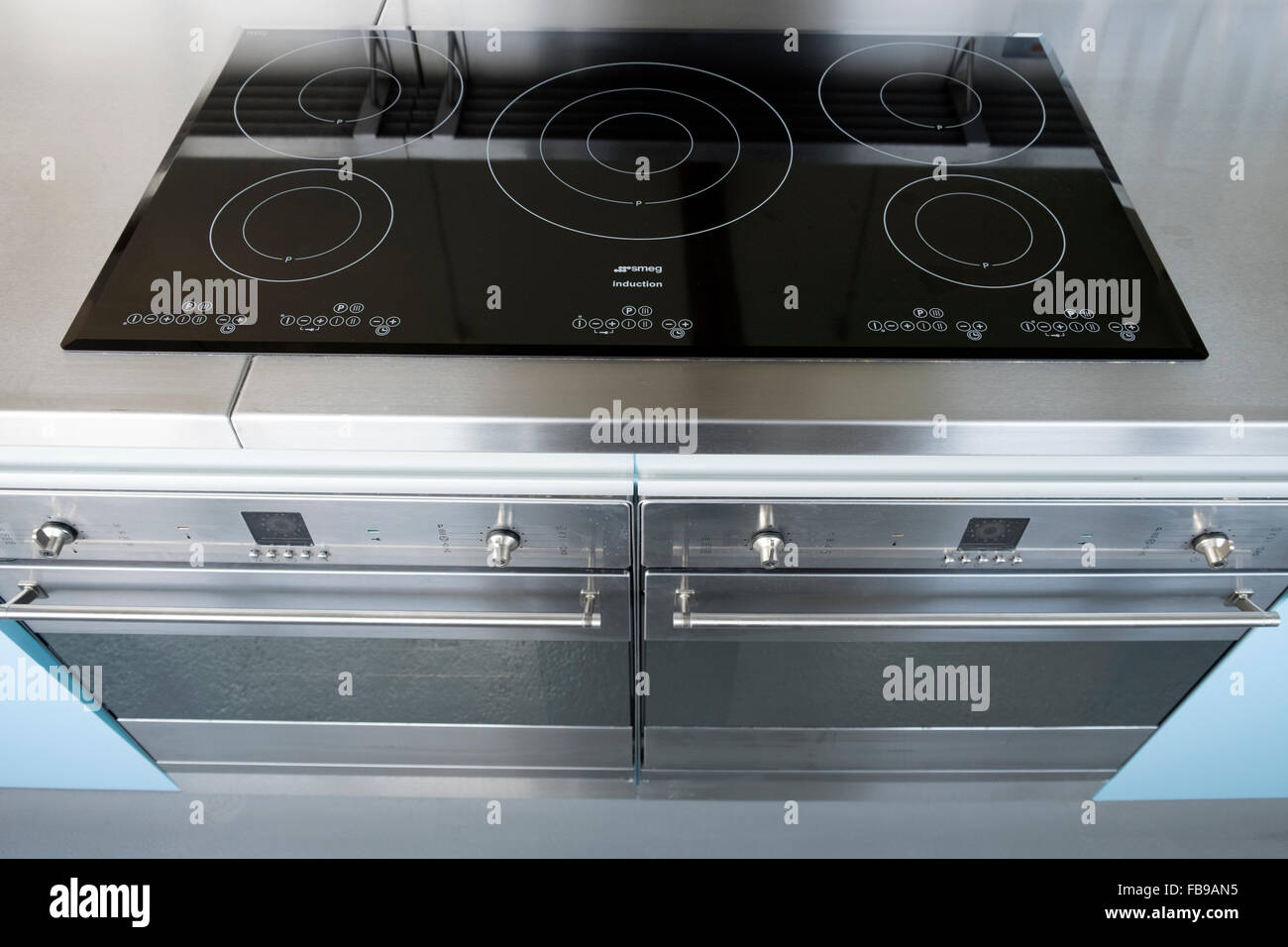 Smeg induction electric cooker hob - Stock Image