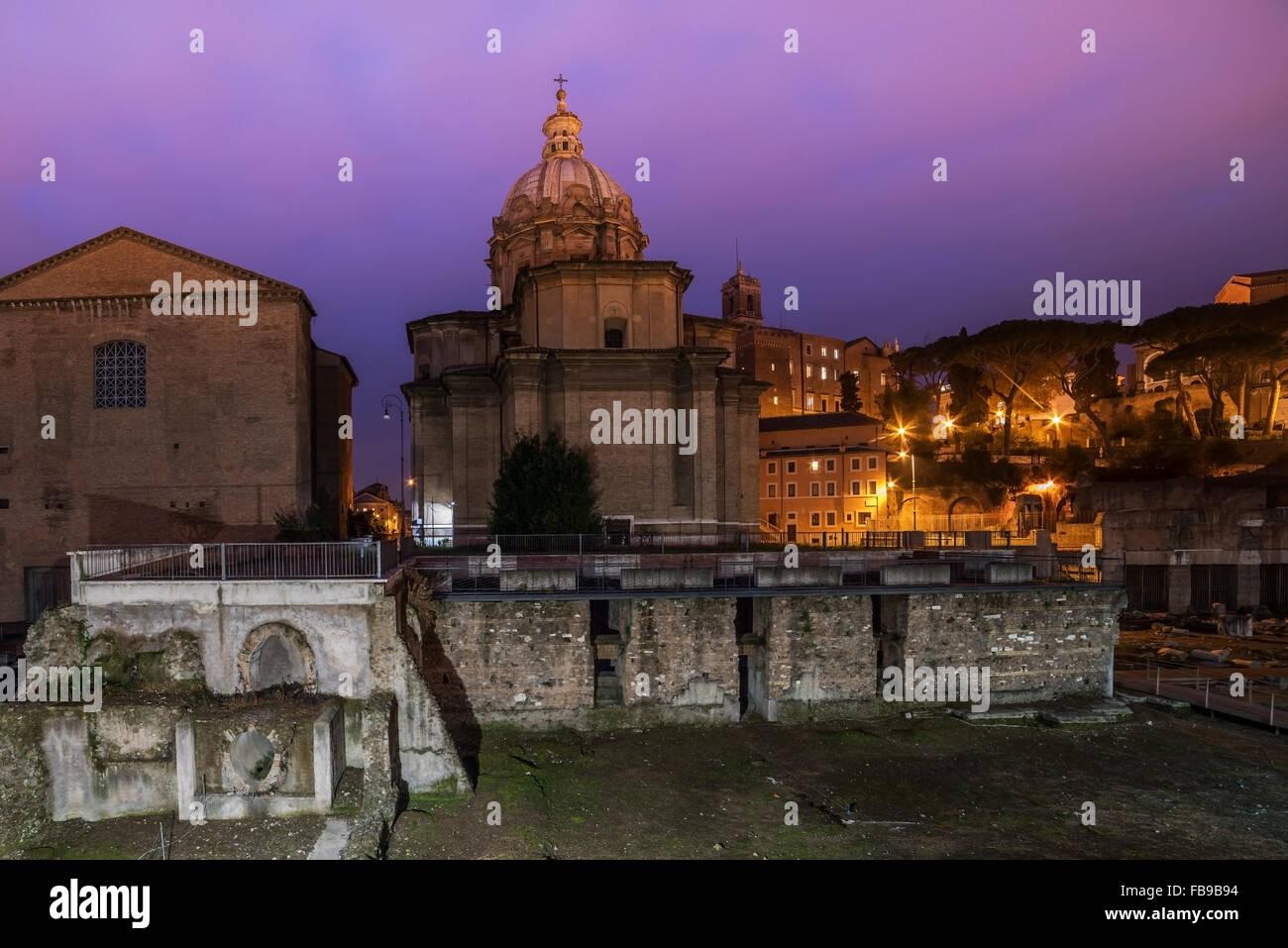 Rome, Italy: The Roman Forum, Santi Luca e Martina Church - Stock Image