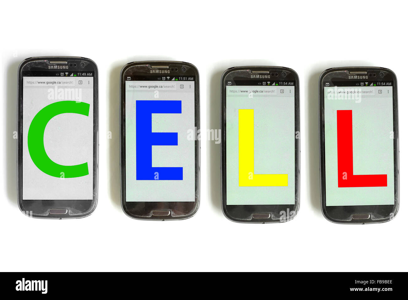Cell written on the screens of smartphones photographed against a white background. - Stock Image