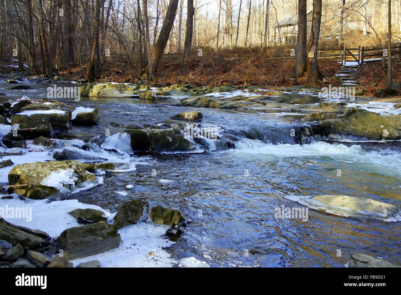 West Branch of Brandywine Creek meandering through Chester County, Pennsylvania. - Stock Image