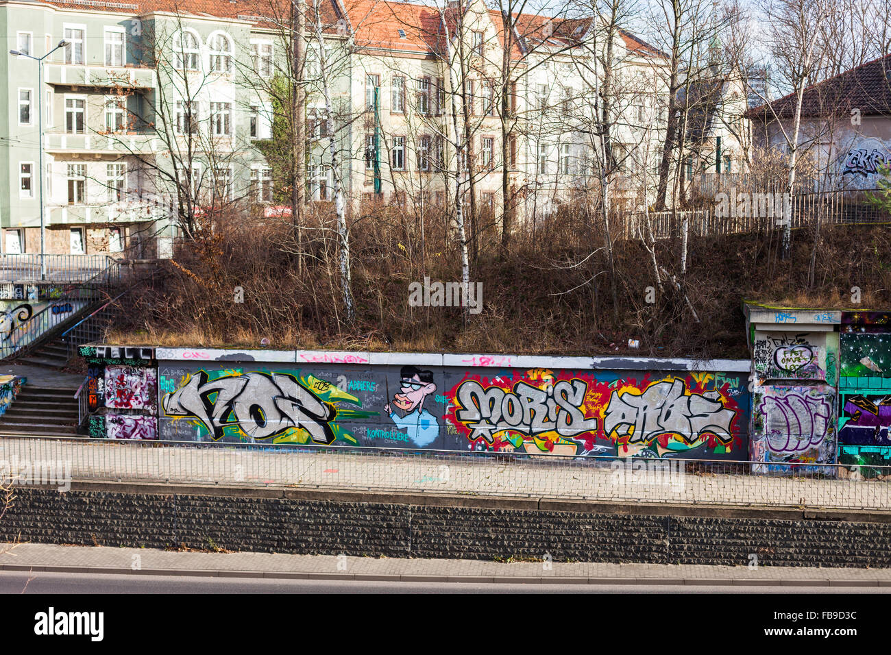 Elaborate graffiti at the side of Leipziger Str in Frankfurt (Oder), Germany Stock Photo