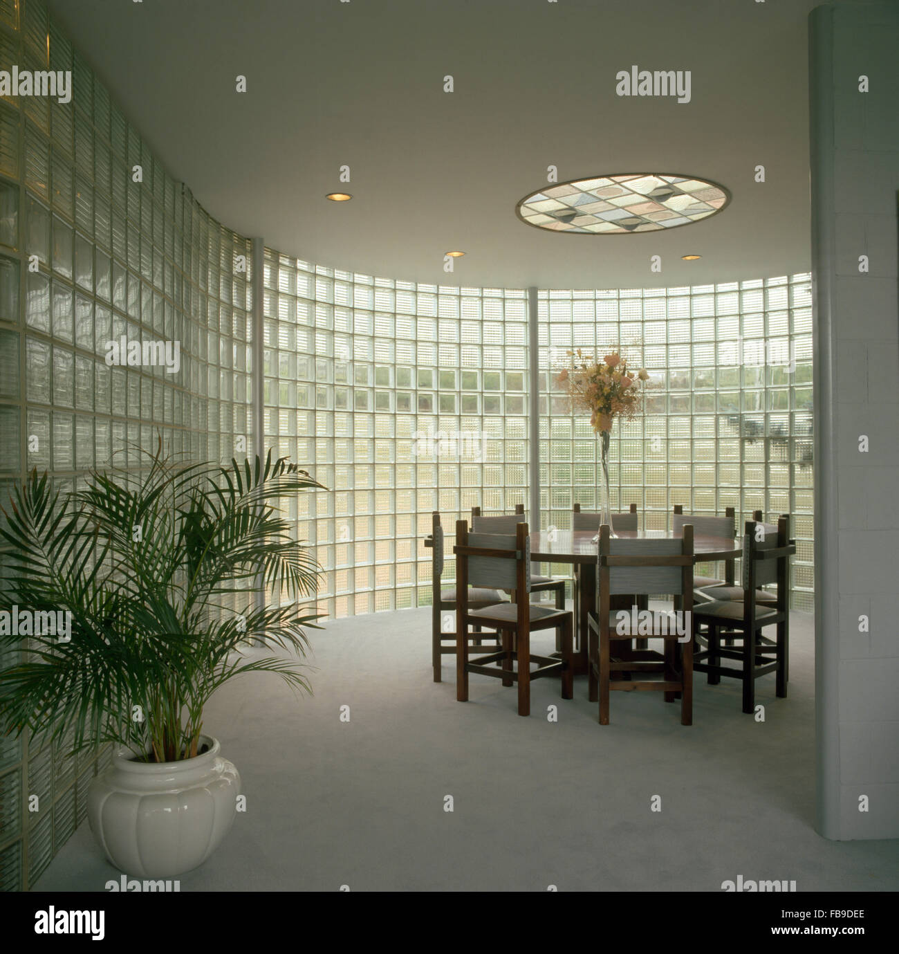 Potted palm and gray carpet in a curved dining room with a glass brick wall - Stock Image
