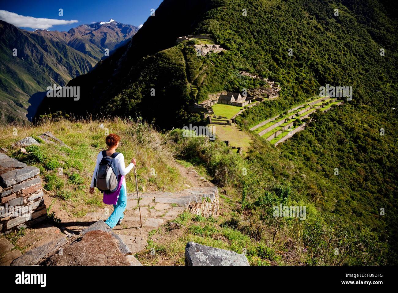 Hiker at Choquequirao (Cradle of Gold), Peru. - Stock Image