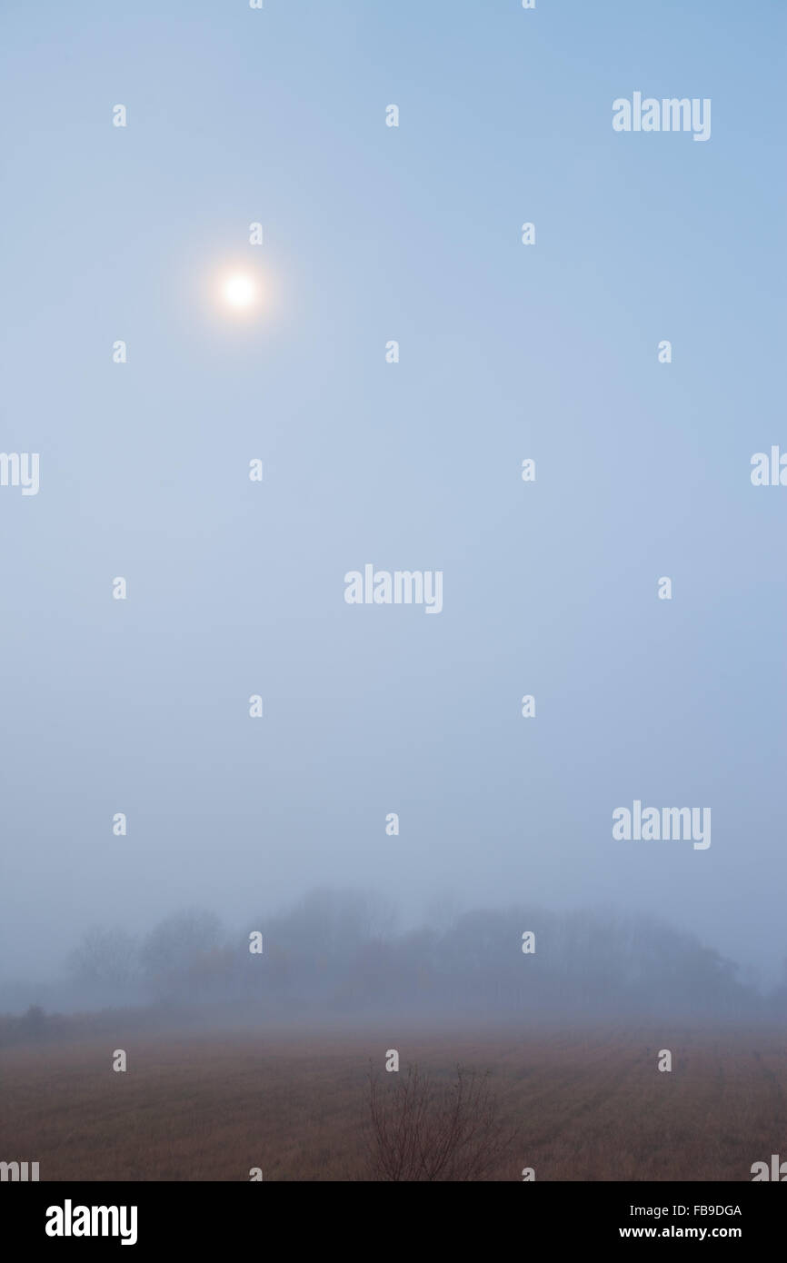 View over fields with moon and haze Stock Photo