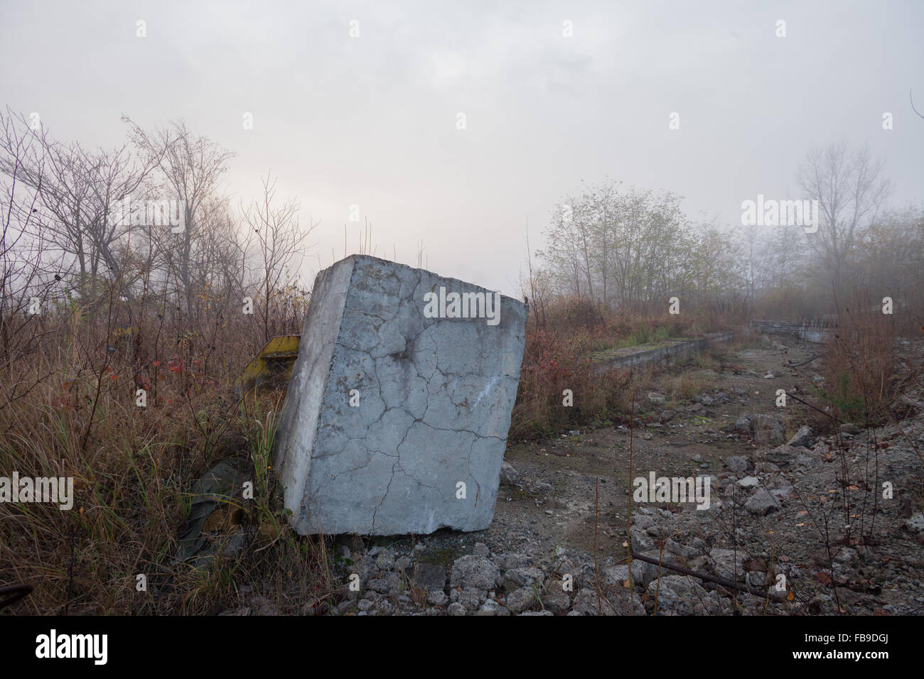 Abandoned concrete structures covered with graffiti at dawn Stock Photo