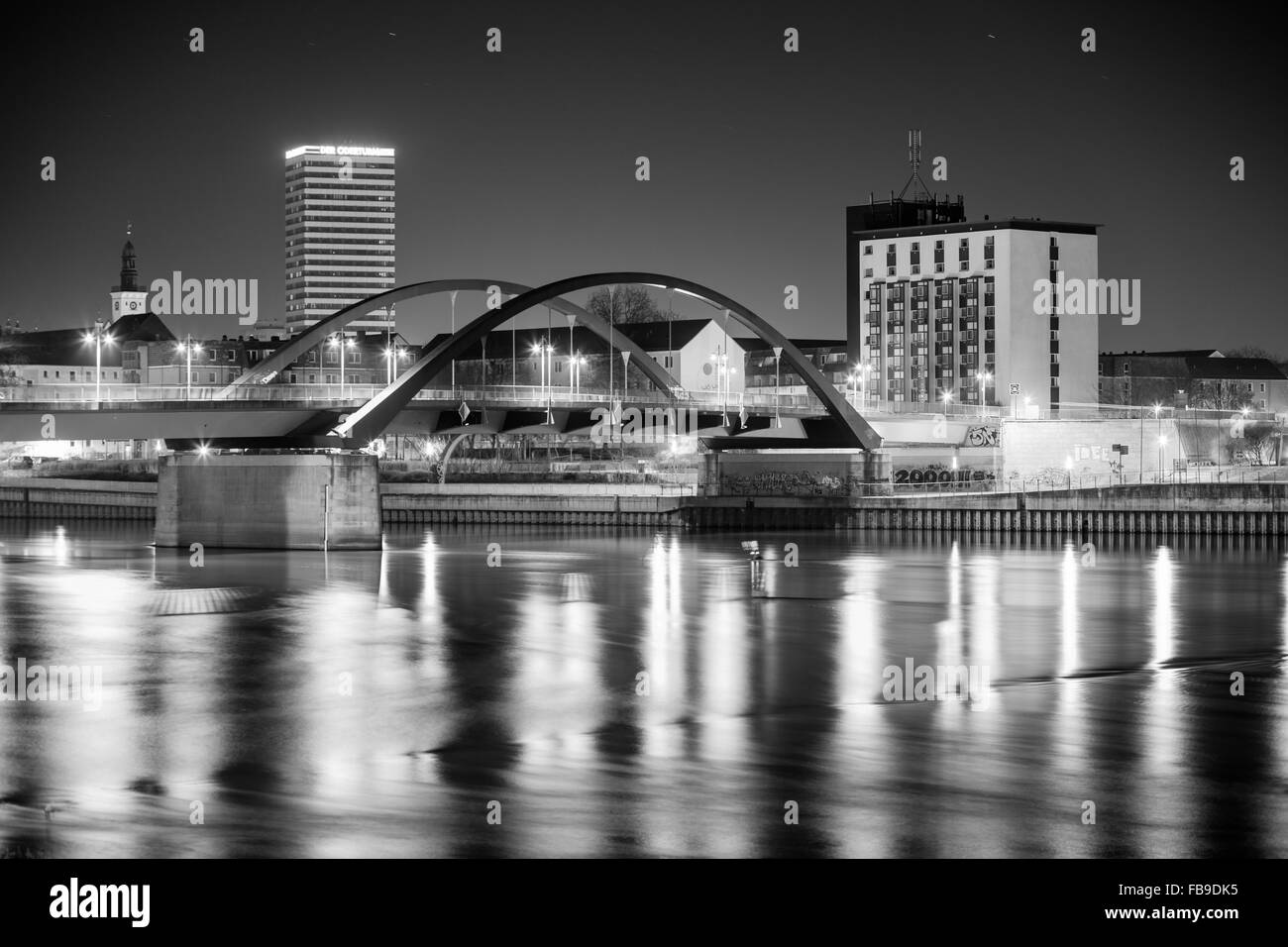 Frankfurt (Oder) waterfront with Oderbruecke and Oderturm Stock Photo