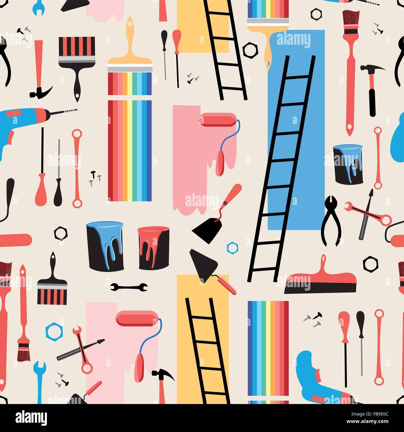 Beautiful vector illustration building tools for the repair of premises - Stock Vector
