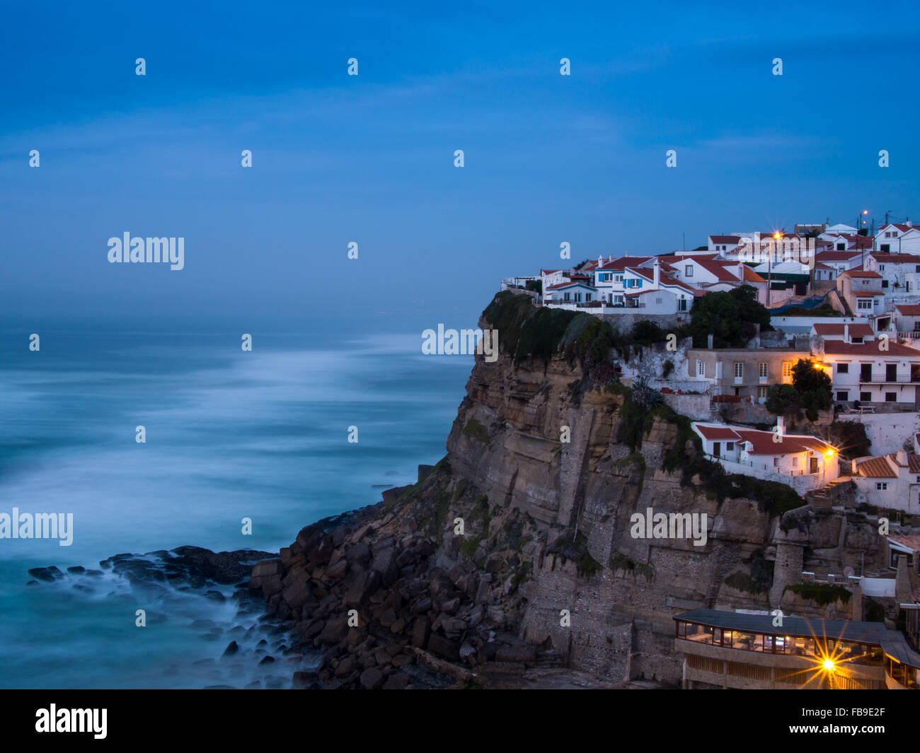 Azenhas do Mar village at dusk, Sintra Portugal - Stock Image