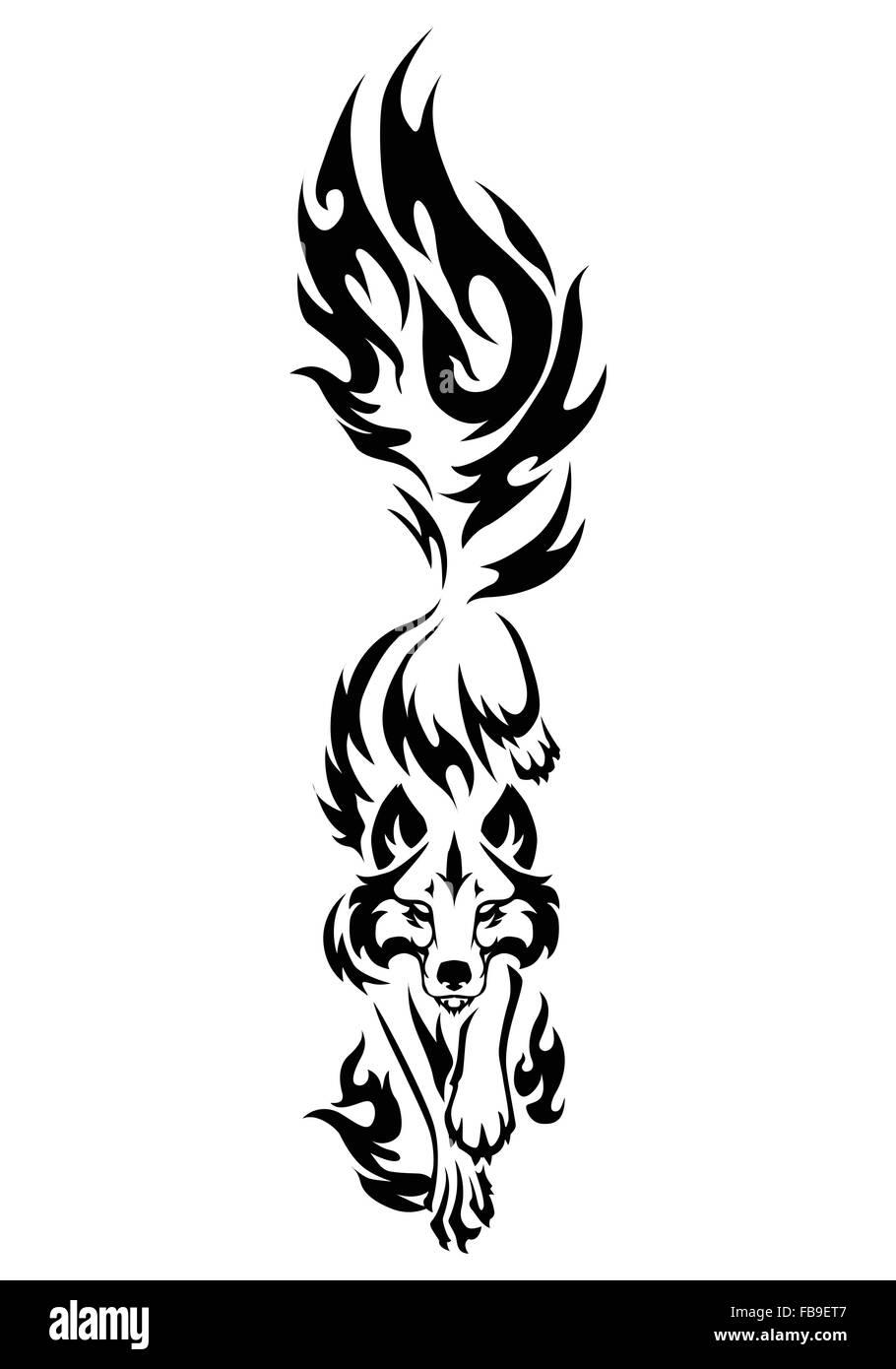 749c648459dd0 illustration of wolf black and white tattoo isolated on white background -  Stock Image