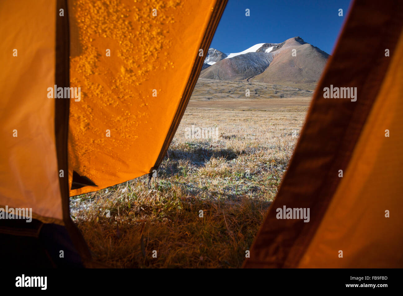 A frosty morning view of the mountains from camp in Kharkhiraa Turgen National Park in remote far-western Mongolia. - Stock Image