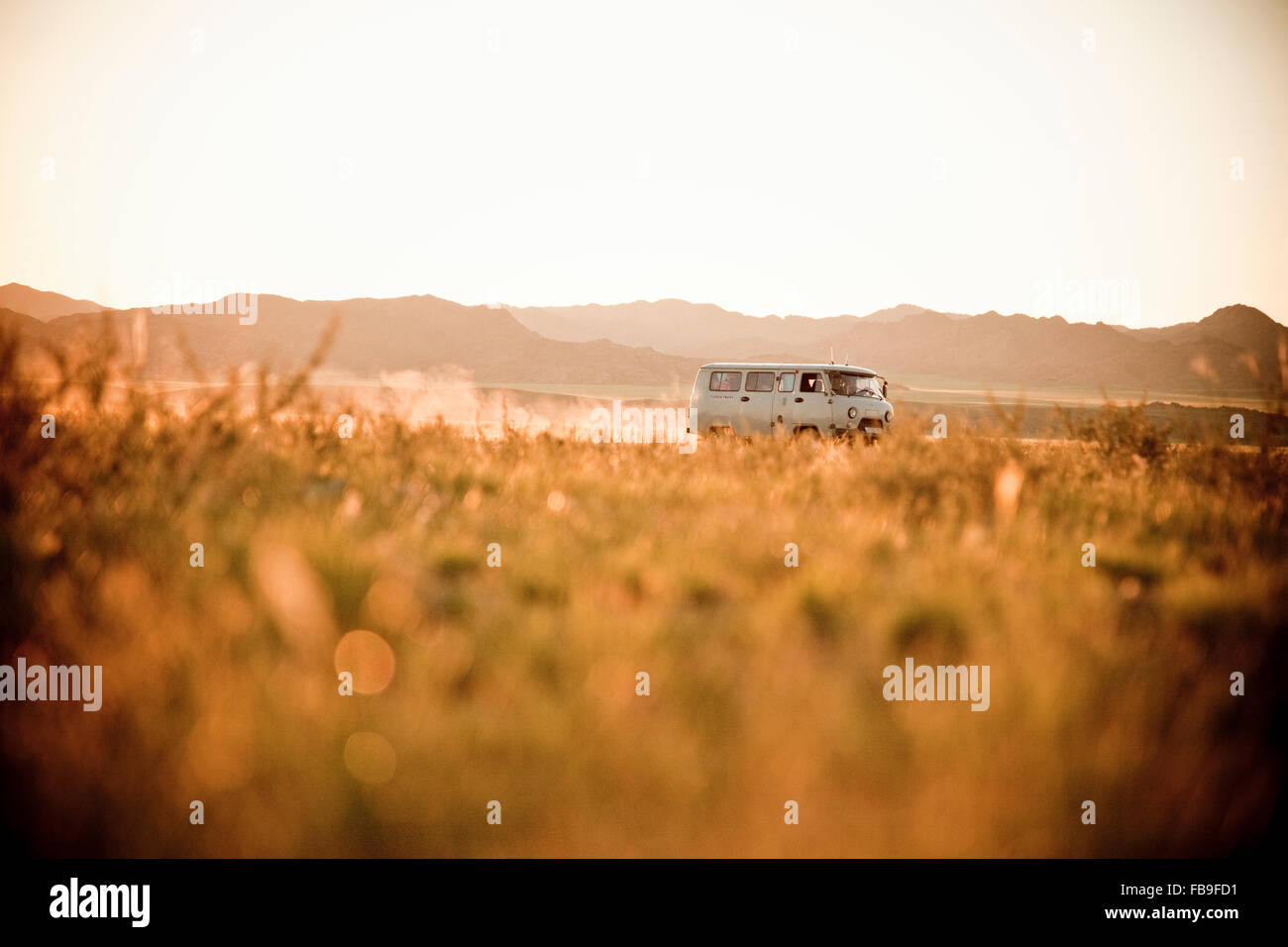 A Russian 'bread loaf' van on the steppes of central Mongolia. - Stock Image