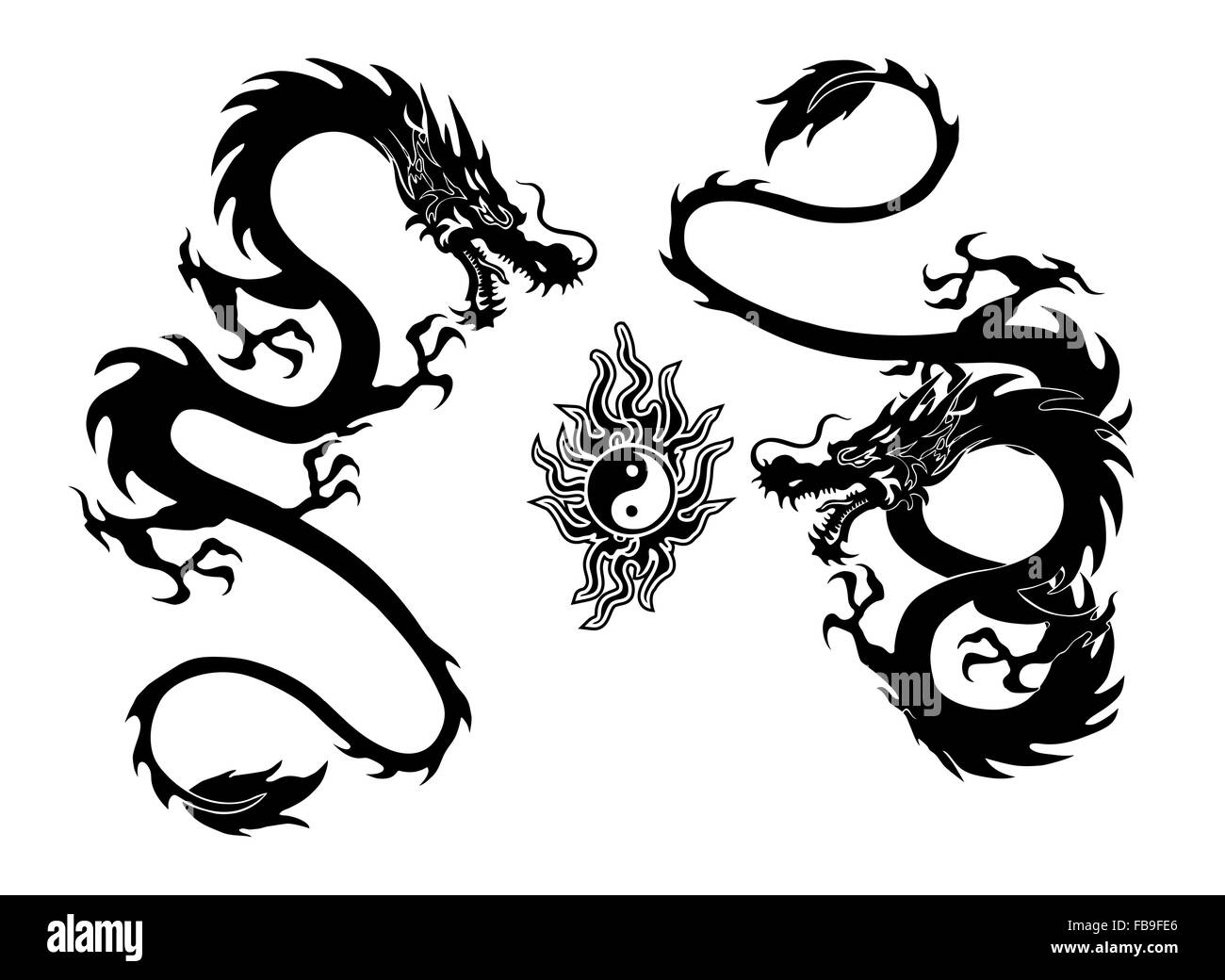 Illustration Of A Two Dragon And Yinyang Symbol Tattoo Isolated On