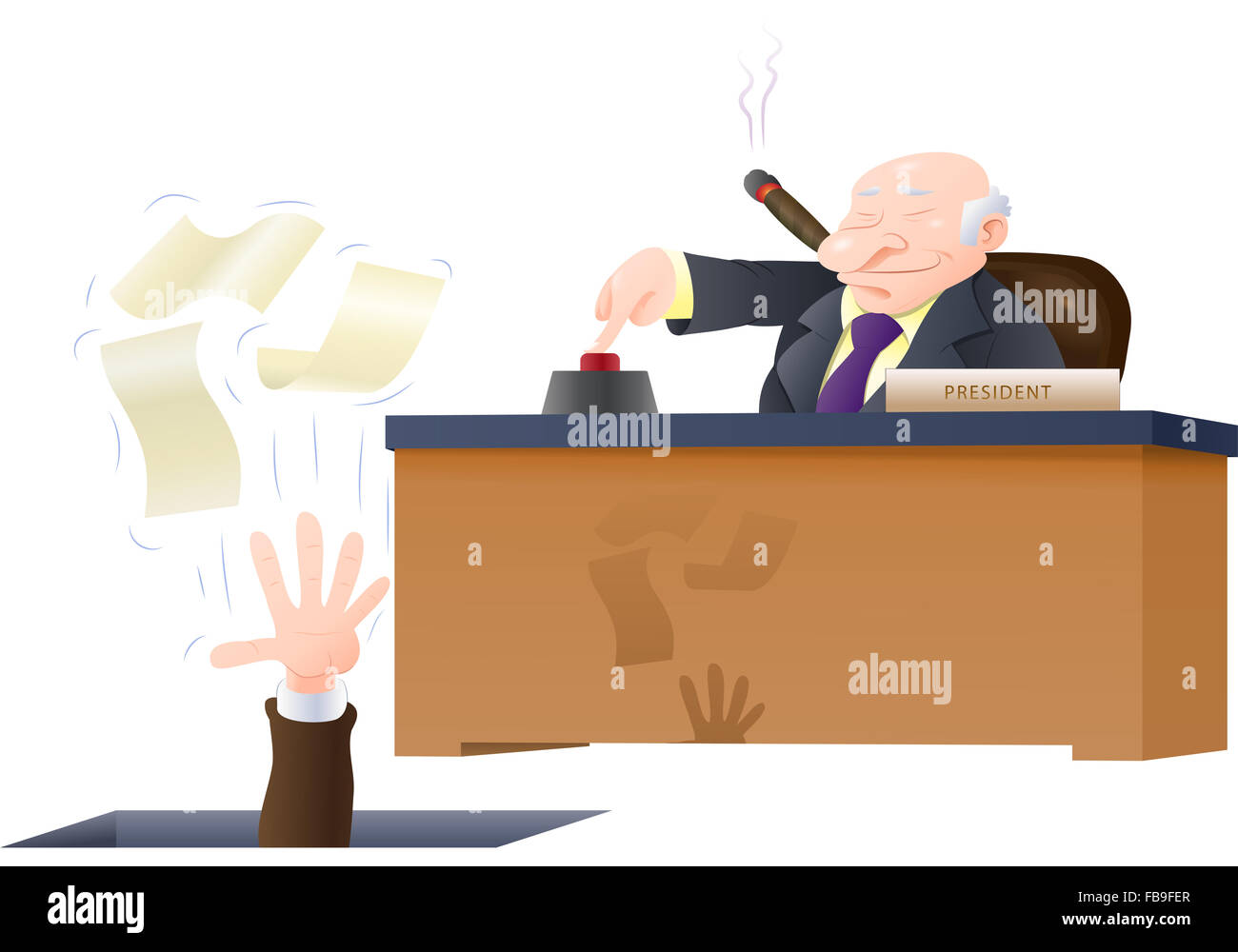 illustration of a boss fired his corporate employee loose holding his papers isolated on white - Stock Image