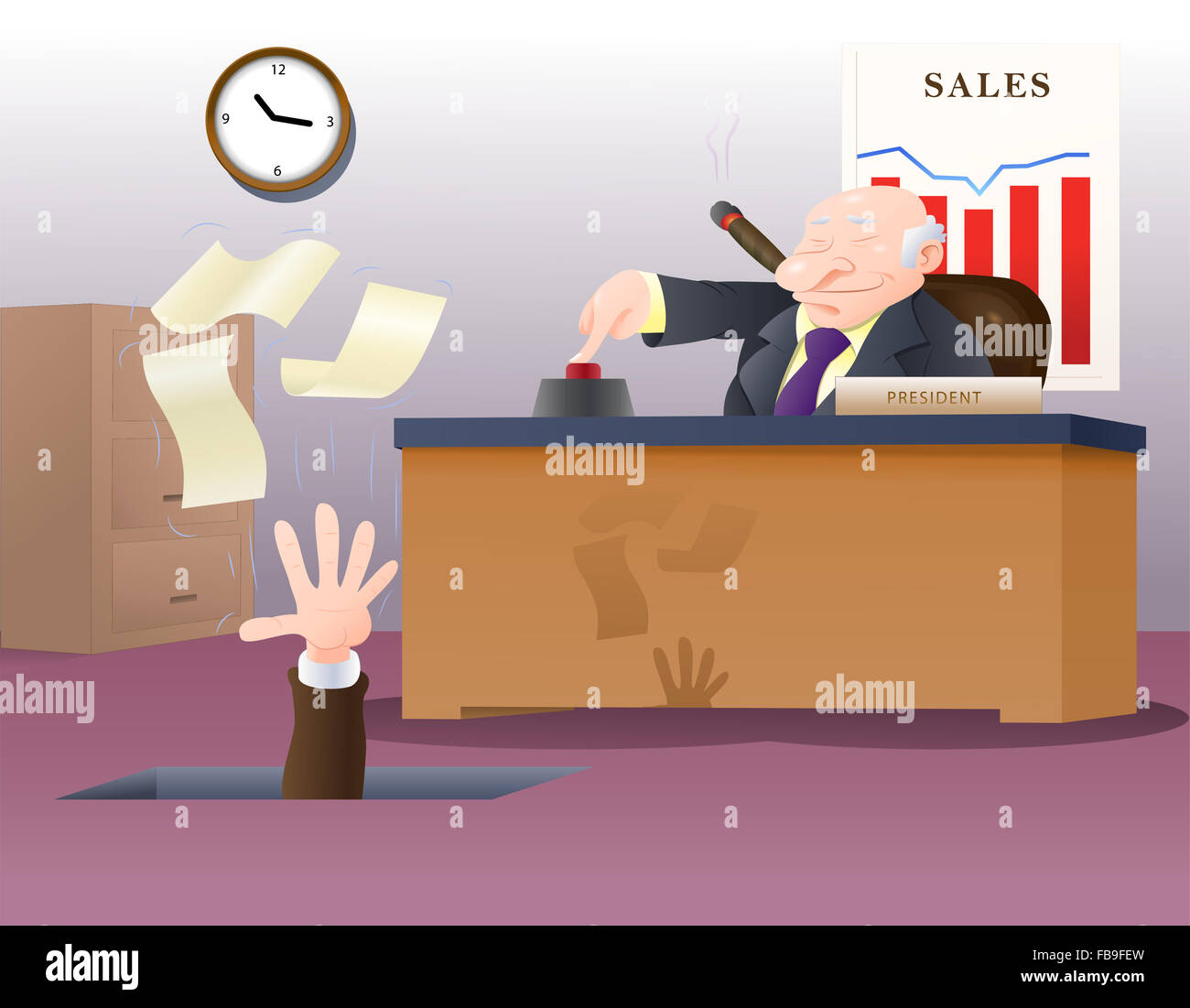 illustration of a boss fired his corporate employee loose holding his papers - Stock Image